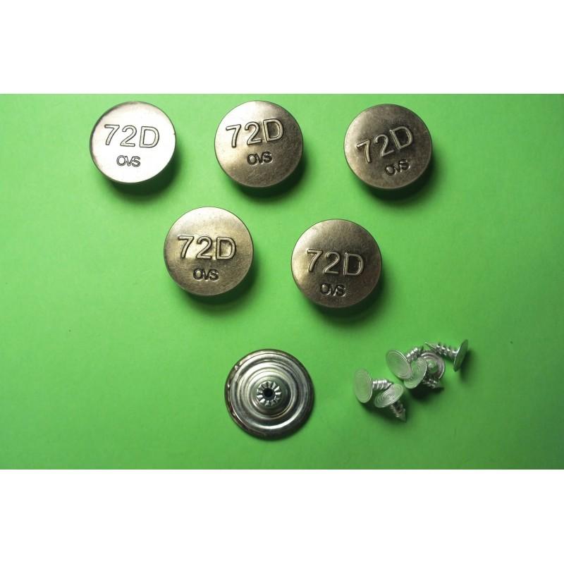LOT 6 BOUTONS METAL 20mm (n°64) : rond à pression pour jean