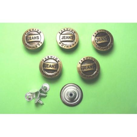 LOT 6 BOUTONS METAL 20mm (n°68) : rond à pression pour jean