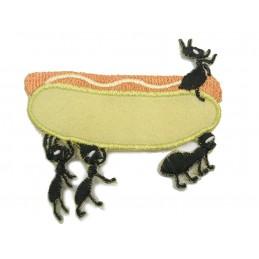 APPLIQUE TISSU THERMOCOLLANT : sandwich avec fourmi 80 x70mm