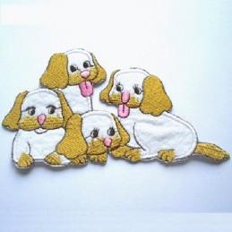 APPLIQUE TISSU THERMOCOLLANT : les 4 amis marron/blanc 160 x90mm