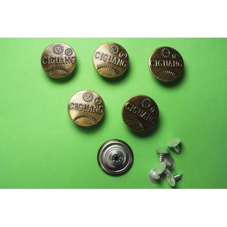 LOT 6 BOUTONS METAL 20mm (n°59) : rond à pression pour jean