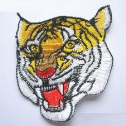 APPLIQUE TISSU THERMOCOLLANT : tete tigre jaune/blanc 65 x80mm