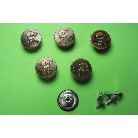 LOT 6 BOUTONS METAL 17mm (n°76) : rond à pression pour jean