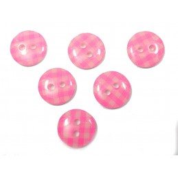 LOT 6 BOUTONS : rond vichy rose/blanc 13mm