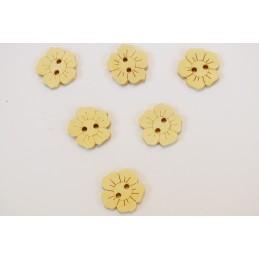 LOT 6 BOUTONS BOIS : fleur couleur naturel 15mm