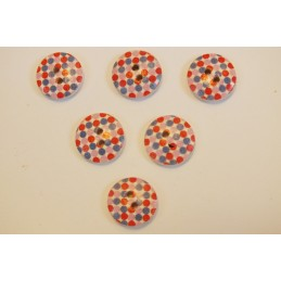 LOT 6 BOUTONS BOIS : rond motif fantaisie 15mm (n°06)