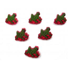 LOT 6 BOUTONS : grenouille verte nenuphar rouge 16mm