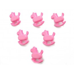 LOT 6 BOUTONS : cheval bascule rose 17mm