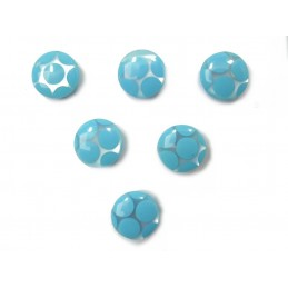 LOT 6 BOUTONS : rond transparent motif rond bleu 11mm