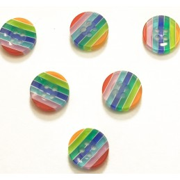 LOT 6 BOUTONS : rond multicolore 13mm (n° 5)