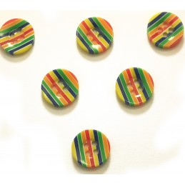 LOT 6 BOUTONS : rond multicolore 13mm (n° 3)
