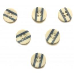 LOT 6 BOUTONS : rond blanc/bleu 13mm (01)