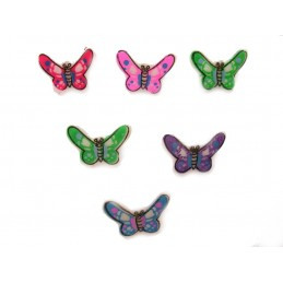 LOT 6 BOUTONS : papillon 5 couleurs differents 16mm