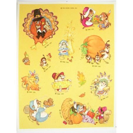 MINIS STICKERS SUR FEUILLE 11 x15CM : souris et oiseaux