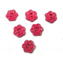 LOT 6 BOUTONS : fleur rouge 12mm
