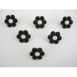 LOT 6 BOUTONS : fleur noire/blanche 14mm