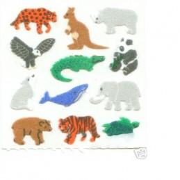36 MINIS STICKERS TISSUS SUR FEUILLE 5 x16CM Motif animaux sauvages de 14 à 20mm