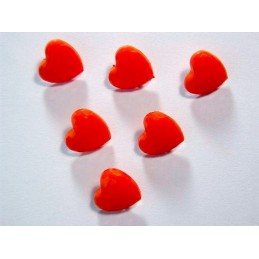 LOT 6 BOUTONS : coeur rouge 14mm