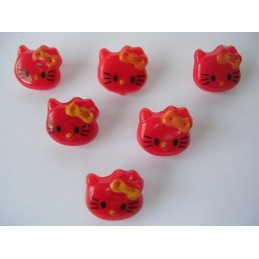 LOT 6 BOUTONS : Kitty rouge...