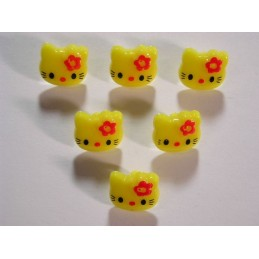 LOT 6 BOUTONS : Kitty jaune...