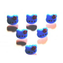 LOT 6 BOUTONS : Kitty bleu...