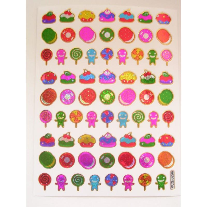 68 MINIS STICKERS SUR FEUILLE 13 x10CM Motif : thème desserts