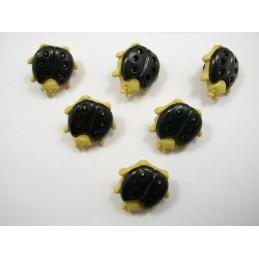 LOT 6 BOUTONS : coccinelle noire/creme 16mm