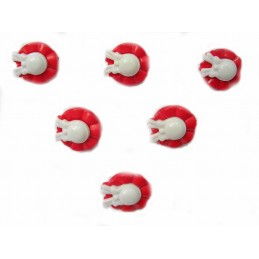 LOT 6 BOUTONS : chapeau rouge/blanc 19mm