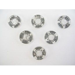 LOT 6 BOUTONS : rond transparent striure noire 18mm