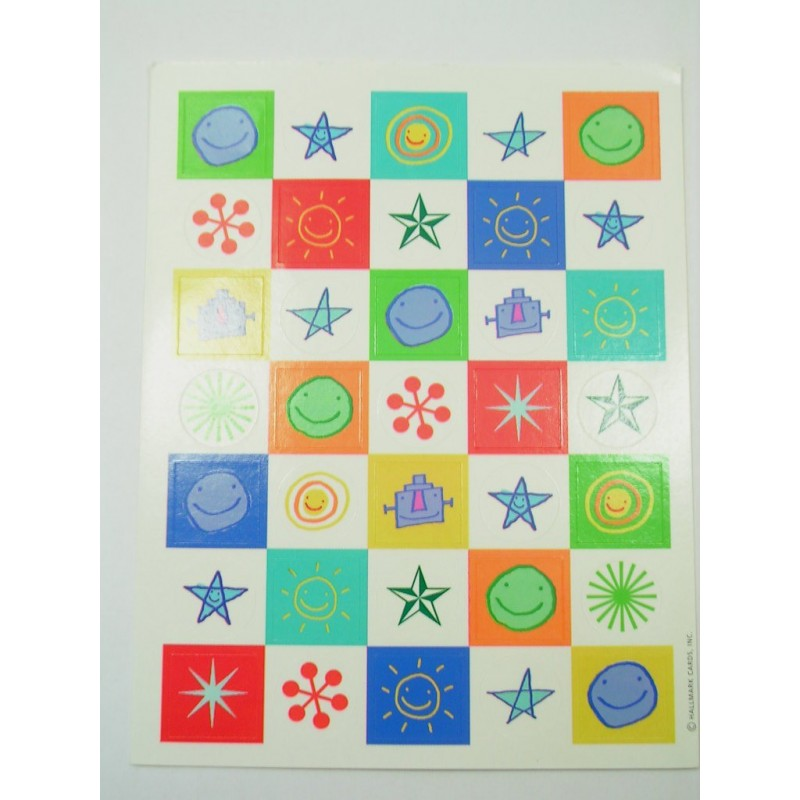 35 MINIS STICKERS SUR FEUILLE 15 x12cm : divers de 20mm