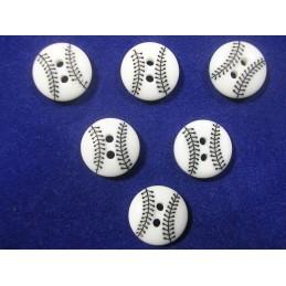 LOT 6 BOUTONS : balle tennis blanche/noire 15mm