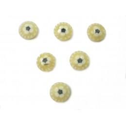 LOT 6 BOUTONS : rond ecrue motif fleur blanc/noire 11mm