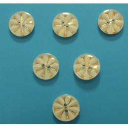 LOT 6 BOUTONS : rond blanc/doré 13mm (n°3)
