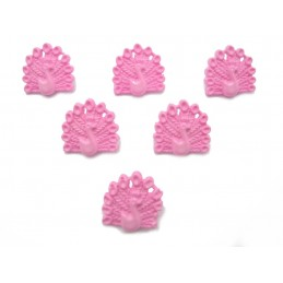 LOT 6 BOUTONS : paon rose 15mm