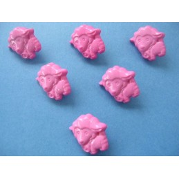 LOT 6 BOUTONS : mouton rose 16mm