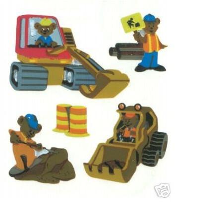 15 MINIS STICKERS SUR FEUILLE 5 x16CM : oursons travailleurs de 16 à 33mm