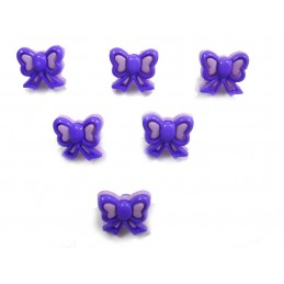 LOT 6 BOUTONS : noeud papillon mauve 2 tons 13mm