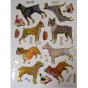 MINIS STICKERS SUR FEUILLE 13 x10cm : 8 chiens de 40 à 50mm
