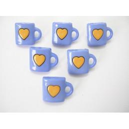 LOT 6 BOUTONS : tasse bleu...