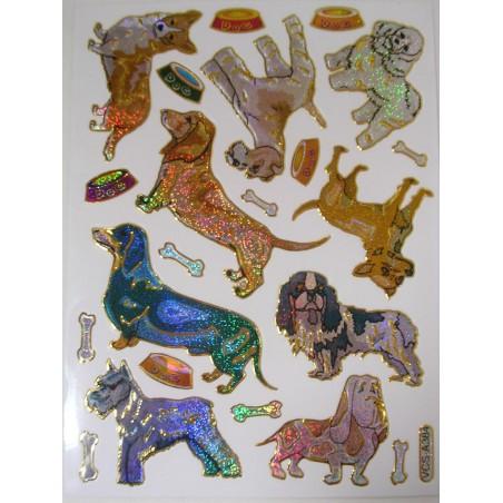 MINIS STICKERS SUR FEUILLE 13 x10cm : 9 chiens de 32 à 60mm