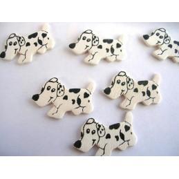 LOT 6 APPLIQUES EN BOIS Motif : chien blanc/noir 26x19mm