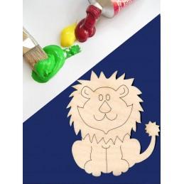 APPLIQUE EN BOIS BALTIQUE CONTREPLAQUE COLLE : Lion 10x7cm
