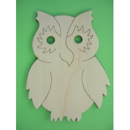 APPLIQUE EN BOIS BALTIQUE CONTREPLAQUE COLLE : hibou 10x7 cm