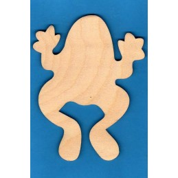 APPLIQUE EN BOIS BALTIQUE CONTREPLAQUE COLLE : Grenouille 10x7cm
