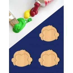 3 APPLIQUES EN BOIS BALTIQUE CONTREPLAQUE COLLE : Tete de singe  4x3cm
