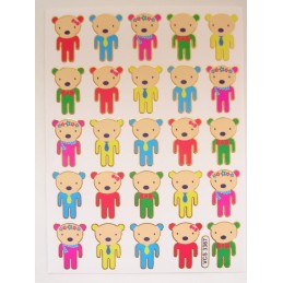 25 MINIS STICKERS SUR FEUILLE 13 x10CM  : oursons de 25mm