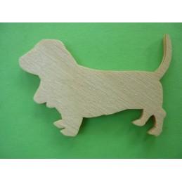 APPLIQUE EN BOIS BALTIQUE CONTREPLAQUE COLLE : chien 5x3cm (n°7)