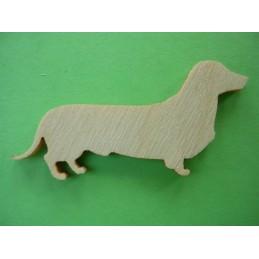 APPLIQUE EN BOIS BALTIQUE CONTREPLAQUE COLLE : chien teckel 4x2cm (n°9)