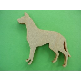 APPLIQUE EN BOIS BALTIQUE CONTREPLAQUE COLLE : chien 4x3cm (n°5)