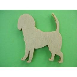 APPLIQUE EN BOIS BALTIQUE CONTREPLAQUE COLLE : chien 4x3cm (n°4)